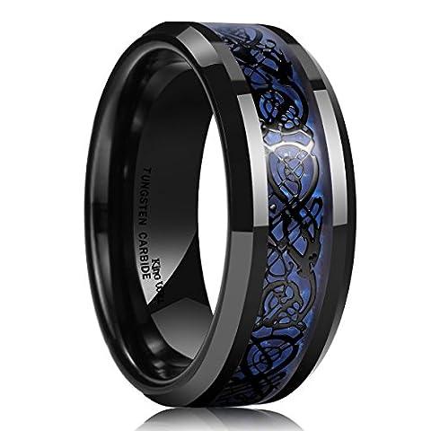 King Will DRAGON Men's 8mm Blue Carbon Fiber Black Celtic Dragon Tungsten Carbide Ring Wedding Band(11.5)