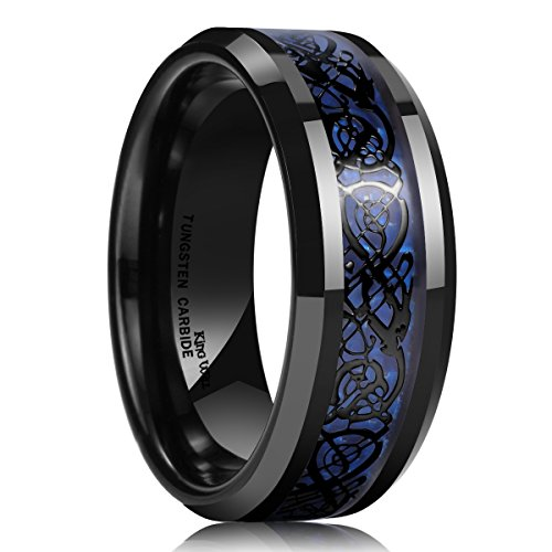 King Will DRAGON Men's 8mm Blue Carbon Fiber Black Celtic Dragon Tungsten Carbide Ring Wedding Band (14.5)