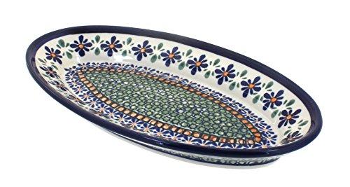 - Polish Pottery Mosaic Flower Small Oval Platter