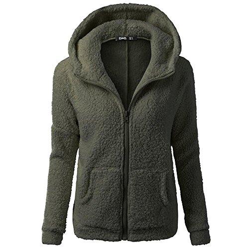 HGWXX7 Women's Hoodie Solid Winter Warm Plus Size Cotton Zipper Coat Tops Blouse Sweatshirt Outwear(S,Army Green) from HGWXX7