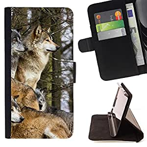 DEVIL CASE - FOR HTC Desire 820 - Wolf Pack Winter Canine Animals Nature - Style PU Leather Case Wallet Flip Stand Flap Closure Cover