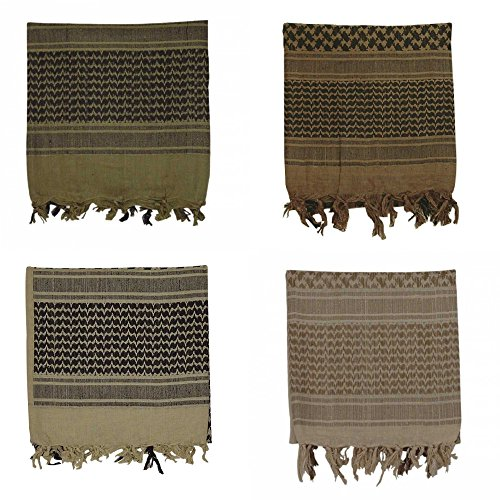 Voodoo Tactical Woven Coalition Cotton Shemagh Kafiya Headwrap Scarf 4-Pack (4 Different Colors)