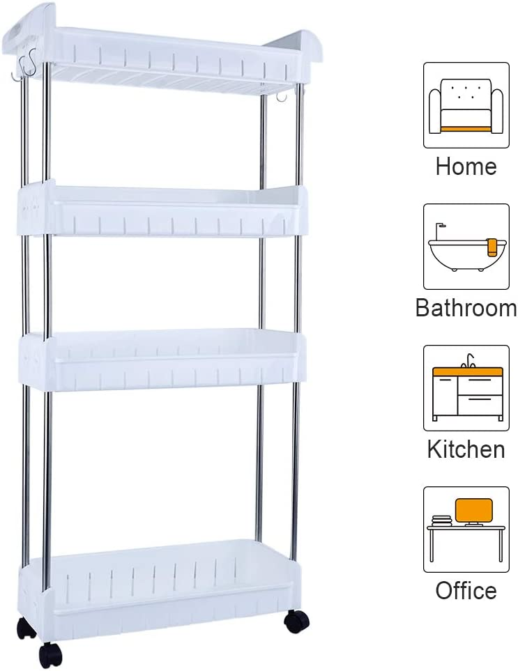 Aogist 4-Tier Slim Storage Cart Mobile Shelving Unit Slide Out Storage Tower for Kitchen Bathroom Laundry Room Narrow Places(White)