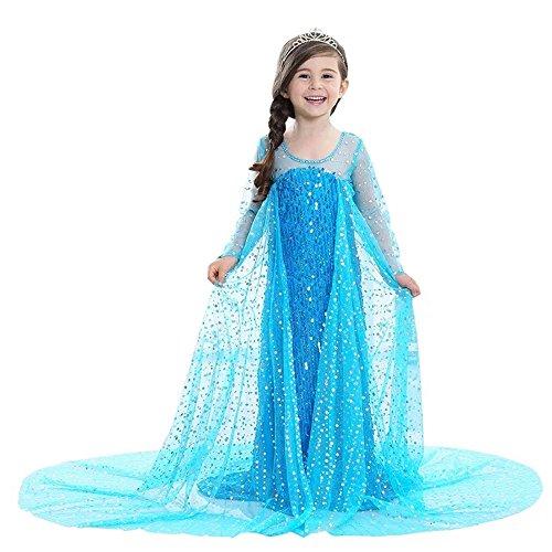Haimaitao 2017 Sequin Garments draggle-tail Halloween costume Frozen Disney Princess Dress Sequins Tulle Lace Tutu Party Costumes Long Sleeve Dress (150, blue) (Disney Toddler Halloween Costumes 2017)