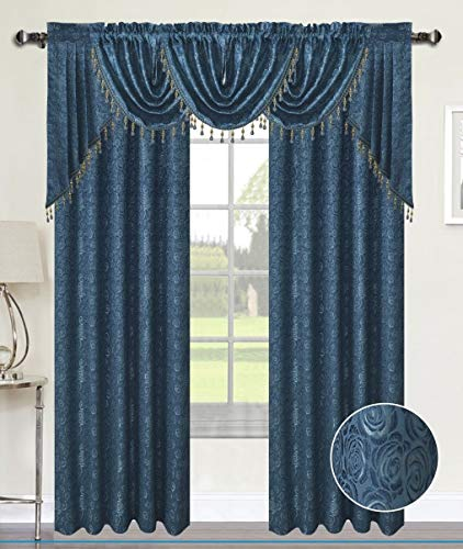 (Luxury Home Textiles Angelina Damask 7 Piece Curtain, Beaded Austrian VALANCES and Swag Set, Blue)
