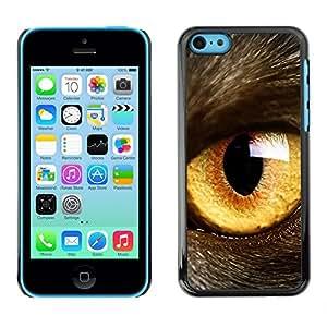 Design for Girls Plastic Cover Case FOR iPhone 5Cs Cat Eye Orange Yellow Fur Pet Looking OBBA