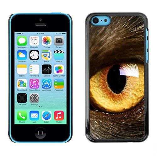 TopCaseStore / caoutchouc Hard Case Housse de protection la Peau - Cat Eye Orange Yellow Fur Pet Looking - Apple iPhone 5C