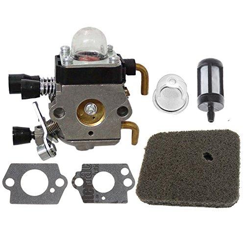 HIPA Carburetor + Fuel Filter + Air Filter + Primer Bulb for FS38 FS45 FS45C FS45L FS46 FS55 FS55C FS55T FS55R FS55RC KM55 HL45 KM55R FC55 String Trimmer