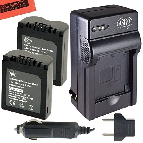 BM Premium Pack of 2 CGA-S006 Batteries and Battery Charger for Panasonic Lumix DMC-FZ7, DMC-FZ8, DMC-FZ18, DMC-FZ28, DMC-FZ30, DMC-FZ35, DMC-FZ38, DMC-FZ50 Digital Camera