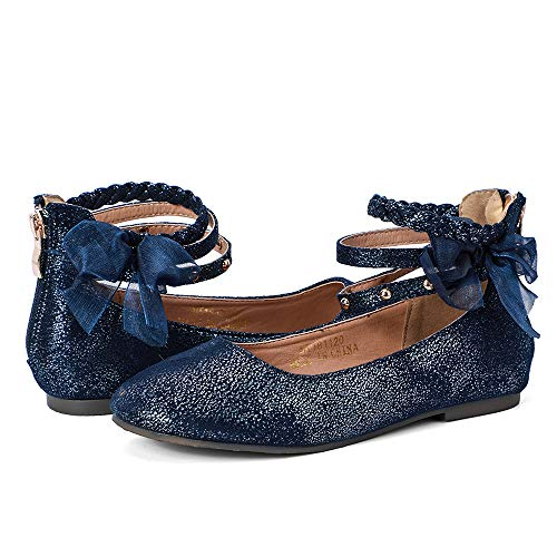 nerteo Girl's Princess Dress Shoes Ankle Strap Glitter Ballet Flats (Little/Big Kid) Navy 2 M US Little -