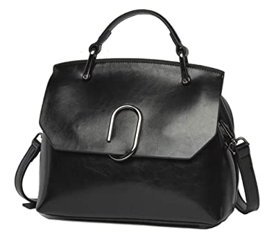6e59097c4735 Amazon.com: Women handbag Vintage Soft Genuine Leather Work Tote Shoulder  Bag (Black): Shoes
