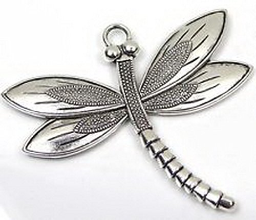 Burts Beads - 1 Silver Pewter Dragonfly Focal Charm Pendant 58x67mm Lead-Free (Playboy Fifties Costumes)