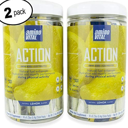 Amino VITAL Action Fermented Vegan BCAAs Amino Acid Powder Electrolytes in Single Serve Packets Keto Friendly Supplement with Glutamine Arginine Lemon 2 Canister Bundle