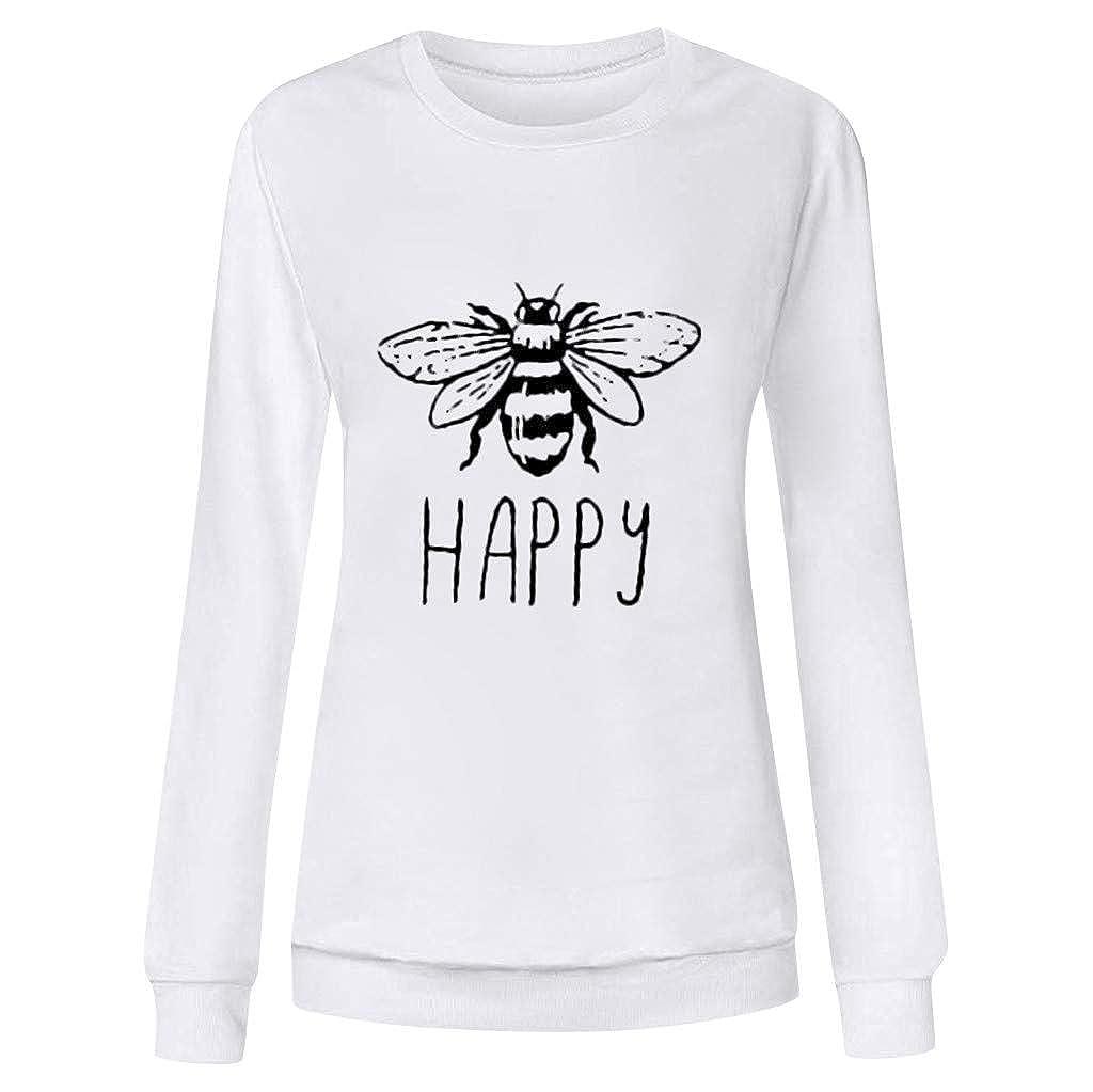 Houshelp Women Long Sleeve Shirts Folral Print Tunics Casual Tops Bee Happy Printing Shirt Tee Tops Loose Basic Blouse