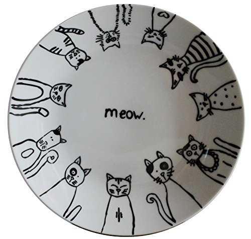 (Leadex Porcelain 8-inch Salad Plate Set/Dessert Plate Set, Hand-drawn Cartoon Cat Design,Set Of 4 )