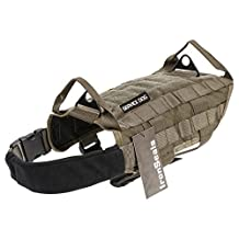 IronSeals Tactical Service Dog Vest Training Molle Harness Military Tactical Dog Training Vest Harness with Mesh Padding and Two Handles (Small, Green)