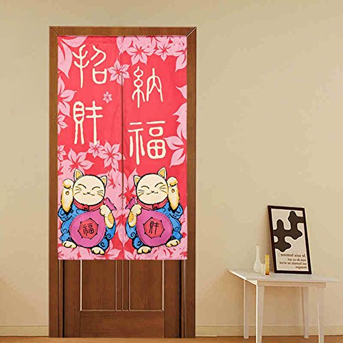 LIGICKY Japanese Style Home Decoration Noren Fortune Cat Doorway Curtain 85x150cm