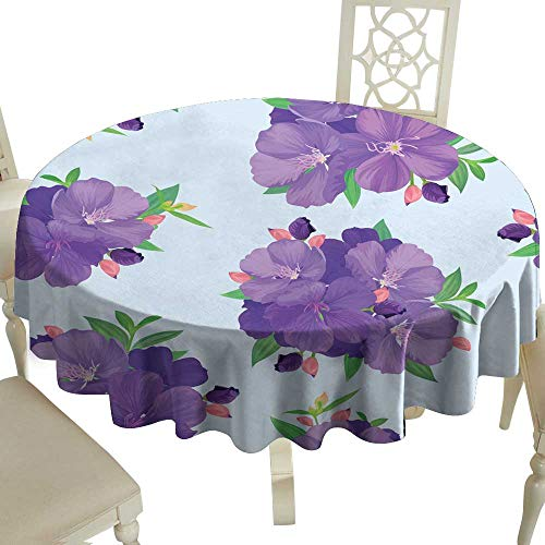 WinfreyDecor Restaurant Tablecloth Seamless Pattern with Beautiful Purple Princess Flower or tibouchina urvilleana and Leaf on Blue Background for Kitchen Dinning Tabletop Decoration D67
