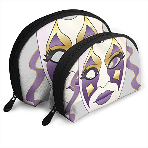 Eratdatd Customized Retro Purple Star Ribbon Mask Shell Portable Zipper Bag?2 Bags?, Suitable for Women Cosmetics, Handbags/Handbags, Women Accessories. -