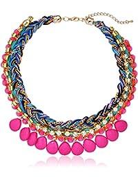 "Orange Tone Morrocan Collar Braided Statement Chain Necklace, 20"""