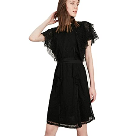 Trajes con falda Vestido Encaje Negro Cintura Corta Manga Vestido ...