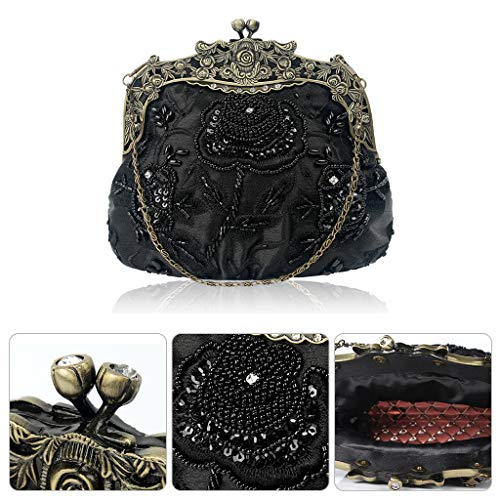 Cocktail Clutch Evening Party Sequin Black Vintage Wedding Wanfor Bag Purse Beaded Flower qO4qg7w