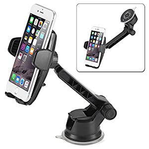 iKross Auto Lock 2-in-1 Car Phone Mount, Dashboard Mount Car Windshield Mount Cell Phone Holder for iPhone X, 8, 8 Plus, 7, 6s, 6, Samsung Galaxy S8, S8+, S7, Motorola, Huawei, BLU and More - Black