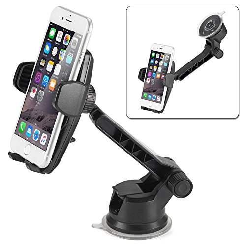 iKross Auto Lock 2-in-1 Car Phone Mount, Dashboard Mount Car Windshield Mount Cell Phone Holder for iPhone X, 8, 8 Plus, 7, 6s, 6, Samsung Galaxy S8, S8+, S7, Motorola, - In Sunglasses 1 2