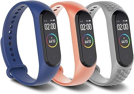 Simpeak Correa Compatible con Xiaomi Mi Smart Band 4 / Mi Band 3 Pulsera Banda [3 Pcs]-Silicona Reloj de Recambio Coloridos Correas Compatible con Mi Band 4 - Azul+Gris+Rosa Naranja: Amazon.es: Deportes