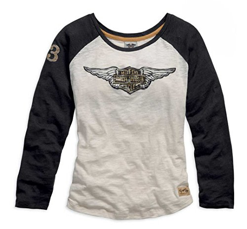 Harley-Davidson Women's Genuine Long Sleeve Knit Tee, Blk/Wht. 99126-15VW (Harley Womens Activewear)