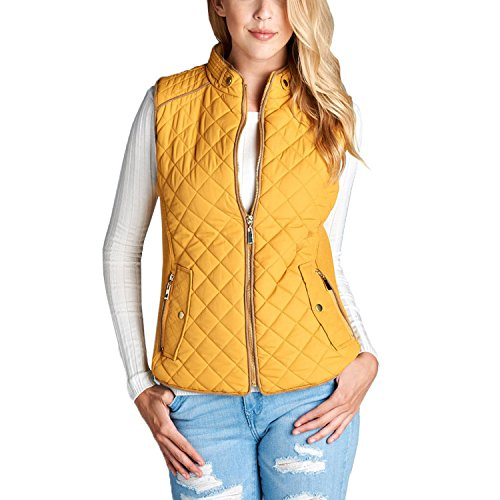 Fashionazzle Women's Lightweight Suede Contrast Quilted Vest Padding Jacket (2X, D. Mustard) (Women Quilted Vest)