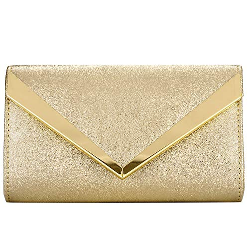 Womens Evening Clutch Bridal Prom Handbag shoulder bag Wedding Purse Party Bag (GOLD D) Clutch Gold Leather Handbags