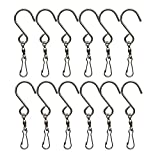 YEJI 12 Pcs Clip Hanging Hooks Stainless Steel for Hanging Wind Spinners Wind Chimes Crystal Twisters Party Supply Showcase Flags, windsocks, Flower pots, Plants, Bird feeders, Solar Lights