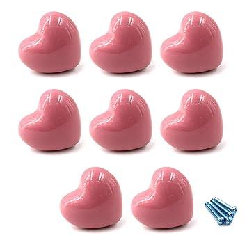 Figura sveglia del cuore Rosa Armadio in ceramica maniglie ...