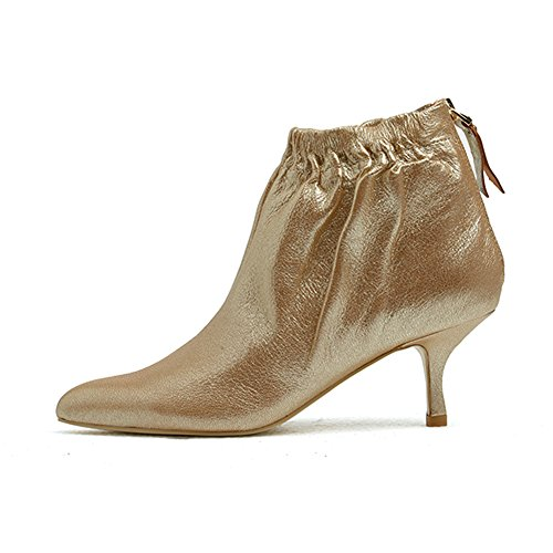 Genuine Suede Leather Skirt - Womens Ankle Boot Ladies Leather Boots Sexy Pointed Toe Mid Kitten Heel Back Zipper Comfortable Short Booties For Autumn Winter (8.5, Light gold)