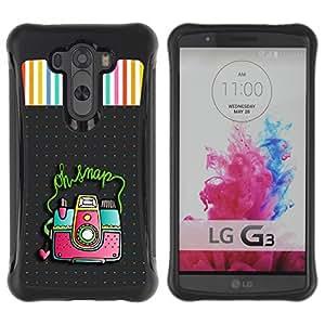 Suave TPU Caso Carcasa de Caucho Funda para LG G3 / Snap Camera Picture Photo Polka Dot / STRONG
