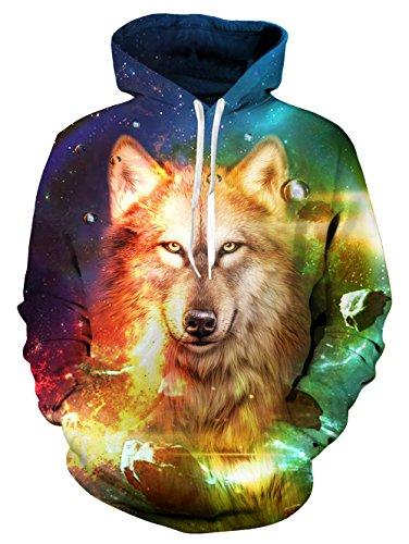 Loveternal Unisex Galaxy Wolf Hoodie Hip Hop 90s 3D Print Pullover Hooded Pockets Women Men L -