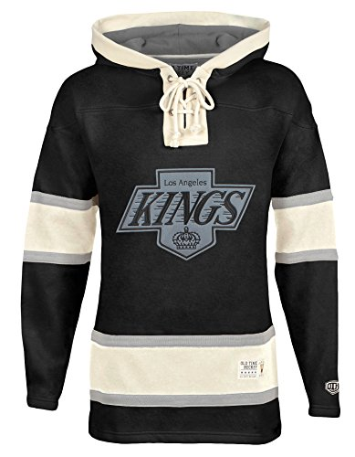 Old Time Hockey NHL Los Angeles Kings Men's Alternate Lacer Heavyweight Hoodie, X-Large, Black (Old Hockey Jerseys Time)