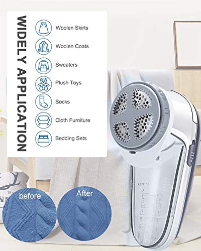 Nooa Lint Remover Fabric Shaver - High Speed Adjustable Sweater Shaver, Electric Fuzz Remover Battery Operated, Effective Defuzzer, Light Gray