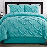 Hotel Style Comforter Set Brushed Microfiber 4 Piece Pinch Pleat Pintuck Luxury Modern Hypoallergenic All Season Soft Bedding - with Pillow Shams and Bed Skirt - Solid Aqua Blue Oversized King Size