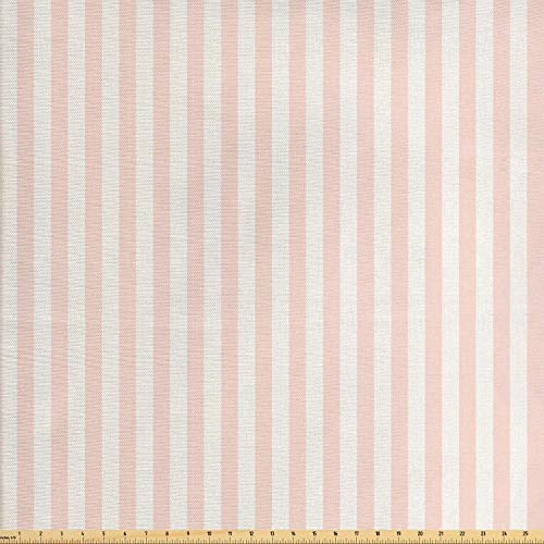 Fab Blush - Lunarable Striped Fabric by The Yard, Vintage Inspirations Geometric Arrangement Grunge Line Pattern Monochrome Ornate, Decorative Fabric for Upholstery and Home Accents, 1 Yard, Blush White