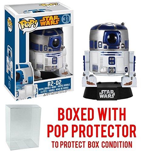 Funko Pop  Star Wars   R2 D2 Bobble Head Vinyl Figure  Bundled With Pop Box Protector Case