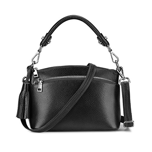 S-ZONE Small Genuine Leather Top Handle Handbags for Women Shoulder Bag Crossbody Purse (Black) (Purse Handle Top Leather)