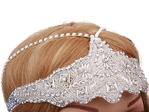 VIJIV Women's Silver Headchain Headpiece Vintage 1920s Flapper Headband]()