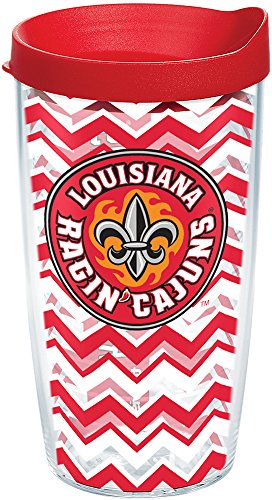 Tervis 1198599 Louisiana Lafayette Ragin' Cajuns Chevron Tumbler with Wrap and Red Lid 16oz, Clear ()