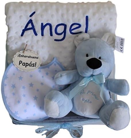 Canastilla Little Angel Azul - cesta regalo bebe - regalo personalizado para bebe: manta bordada con el nombre del bebé + babero + peluche