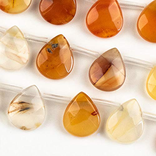 Cherry Blossom Beads Carnelian 12x15mm Faceted Top Drilled Teardrop - 8 inch ()
