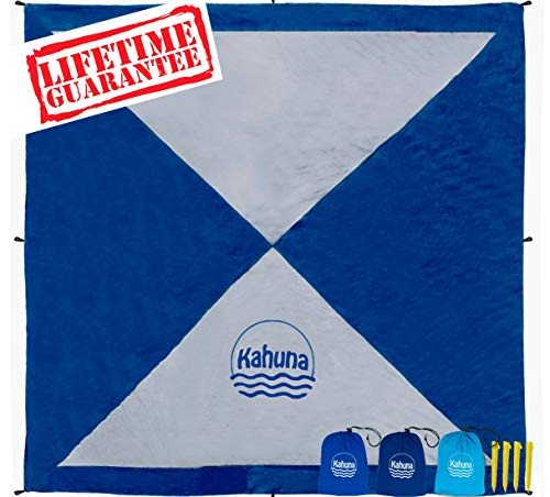 Kahuna Large Beach Blanket - Compact Sand Free Beach Blanket, Beach Sheet, Picnic Blanket. Made from Strong Parachute Nylon. Includes Sand Anchor Pockets, Ground Stakes & Zippered Pocket - Blue/Grey (Best Surf Spots In Hawaii)