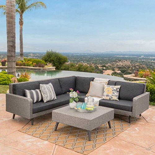 Tonga Outdoor Wicker Sofa Set with Water Resistant Cushions (Mixed Black/Dark Grey) Review
