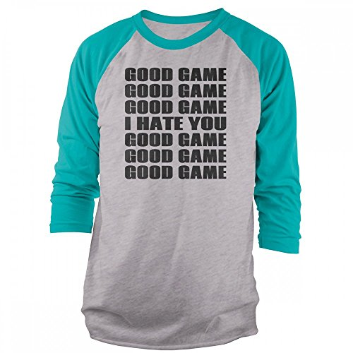 Vine Fresh Tees - Good Game I Hate You 3/4 Sleeve Raglan T-Shirt - Small, Ash w/Tahiti